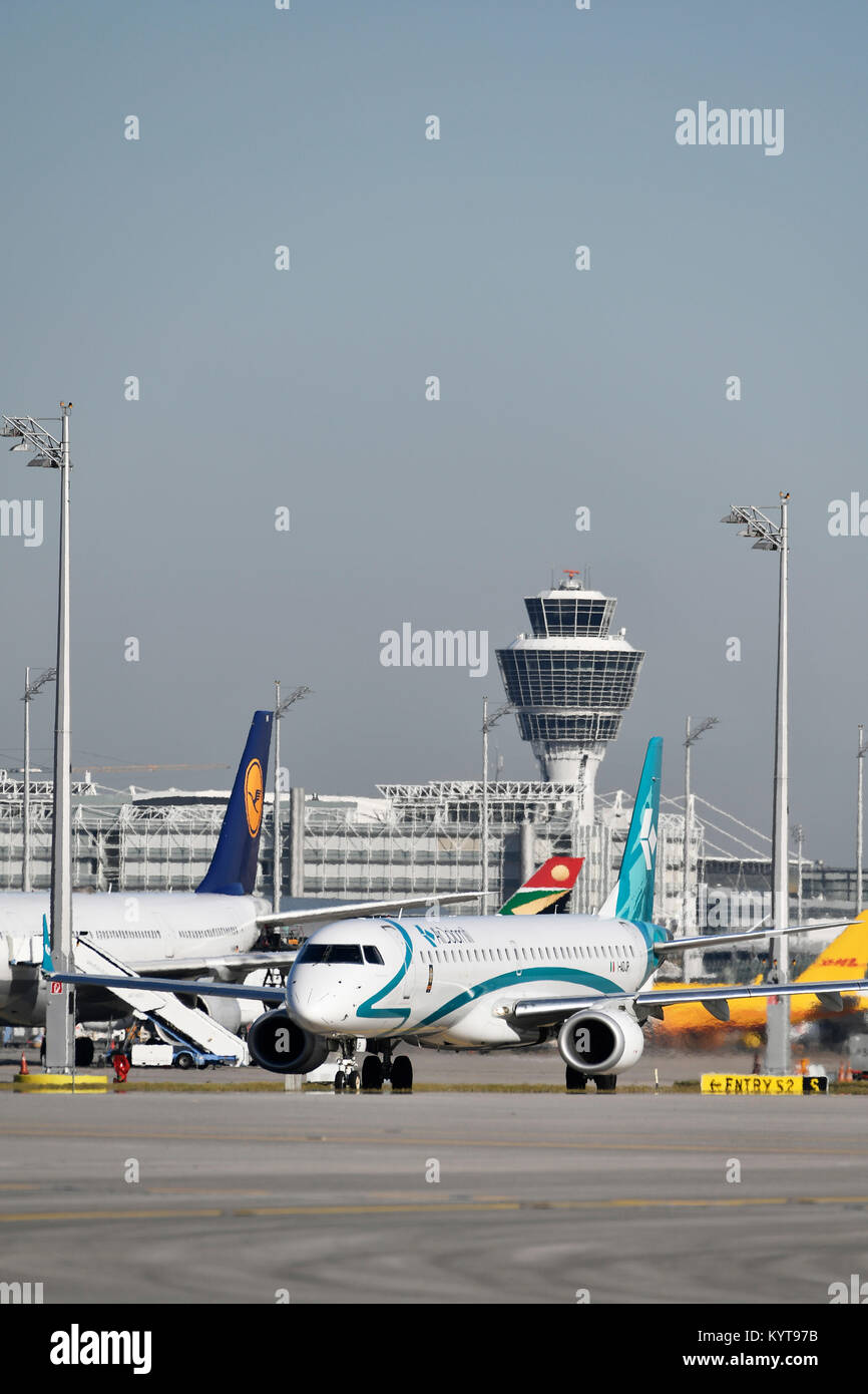 Air Dolomiti, Embraer 195, aircraft, airplane, plane, airlines, airways, roll, in, out,  Munich Airport, - Stock Image
