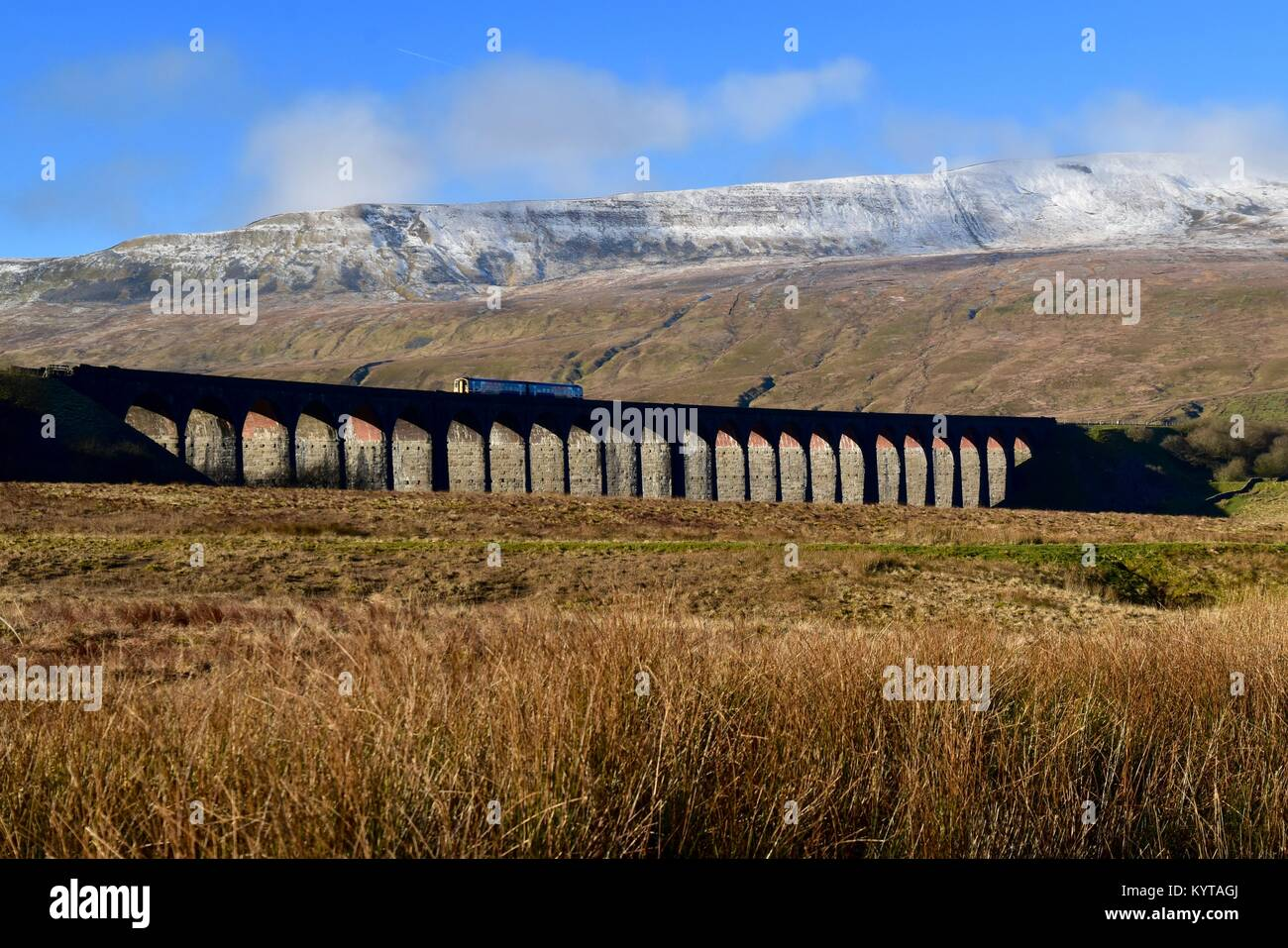 Diesel train crossing the Ribblehead Viaduct. - Stock Image