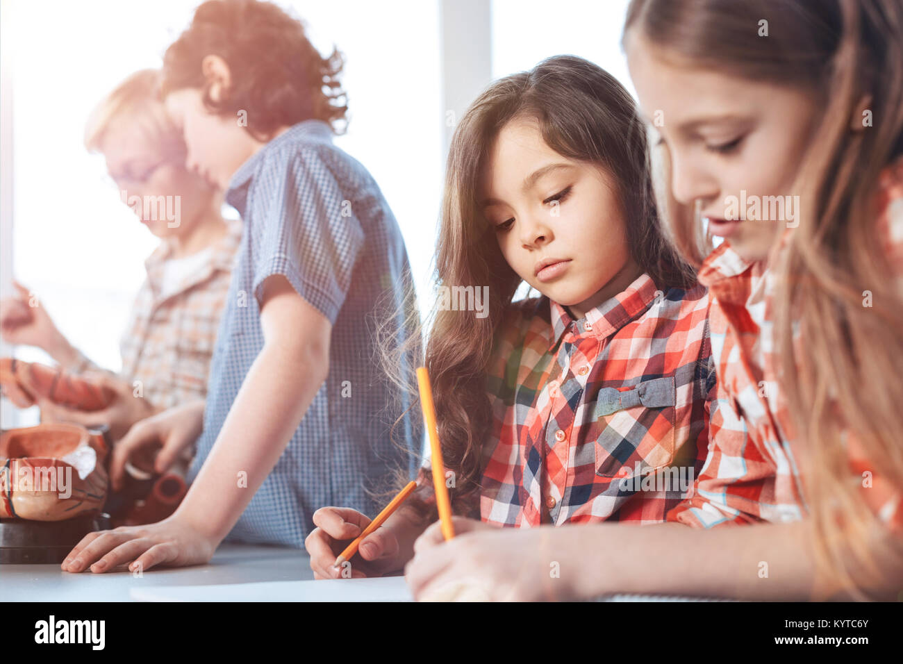 Serious Approach Ambitious Adorable Lovely Kids Studying Human