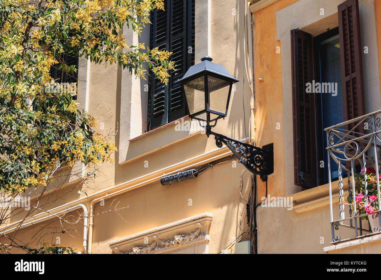 typical street lighting in the center of barcelona, spain - Stock Image