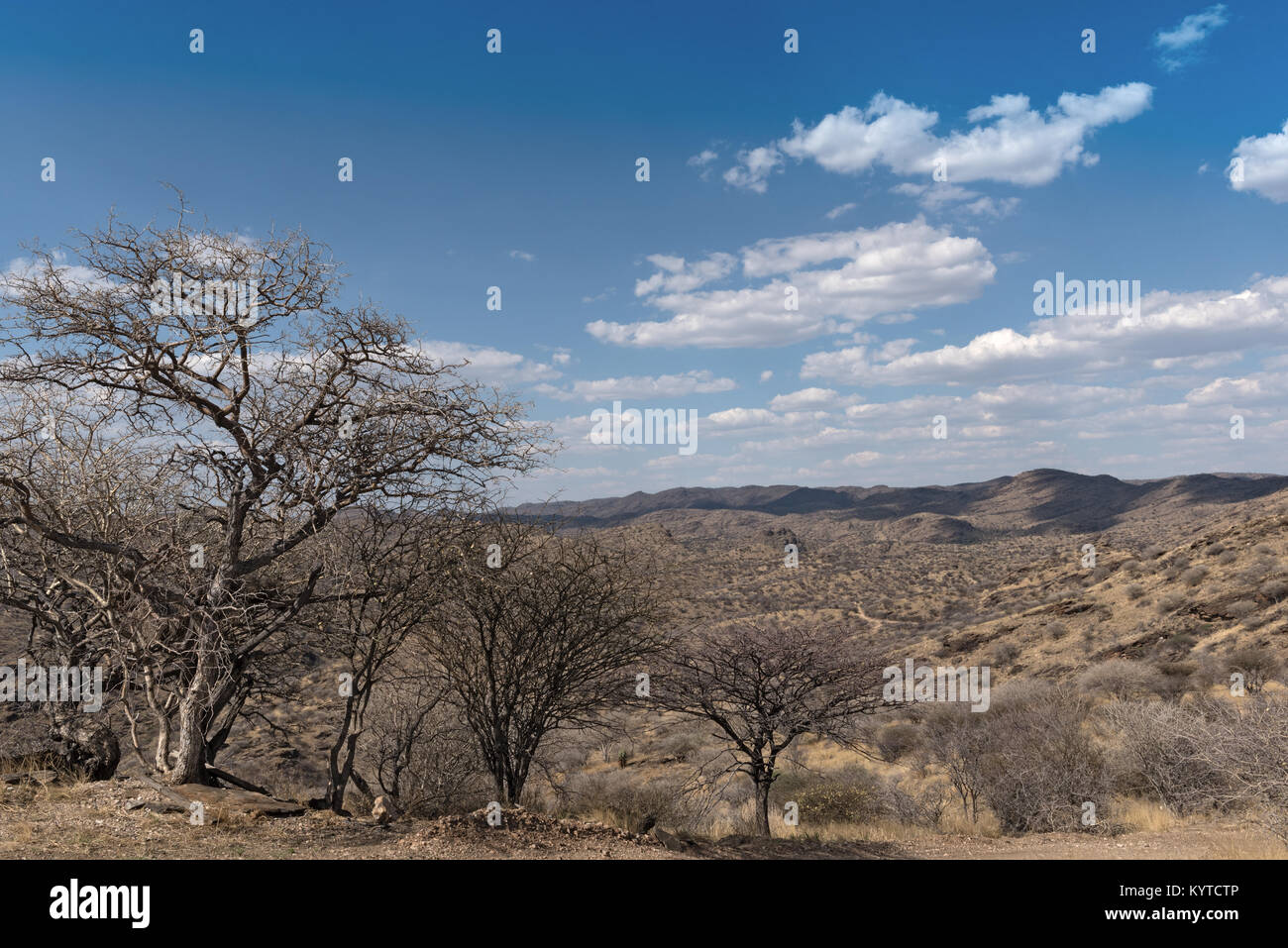 View of the Eros Mountains north of Windhoek, Namibia - Stock Image