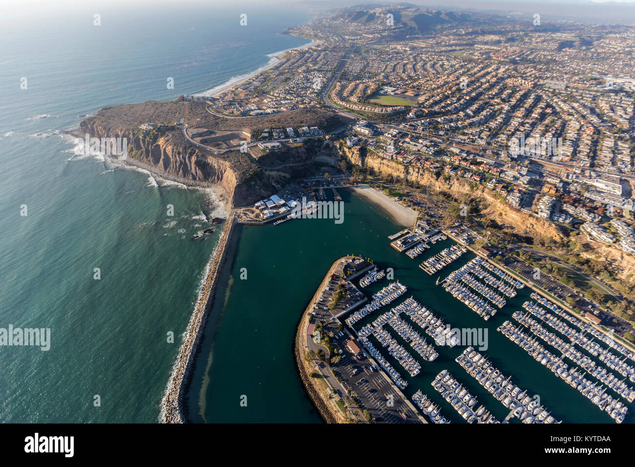 Aerial view of Dana Point park and marina in Orange County, California - Stock Image