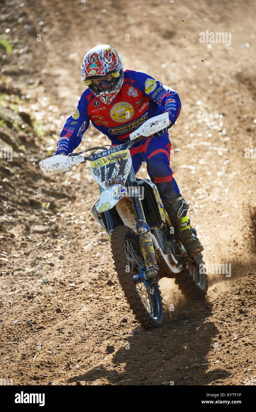 Martin Cuddy on the Husqvarna 450 at the NGR & ACU Eastern EVO Championships, Cadders Hill, Lyng, Norfolk, UK. - Stock Image