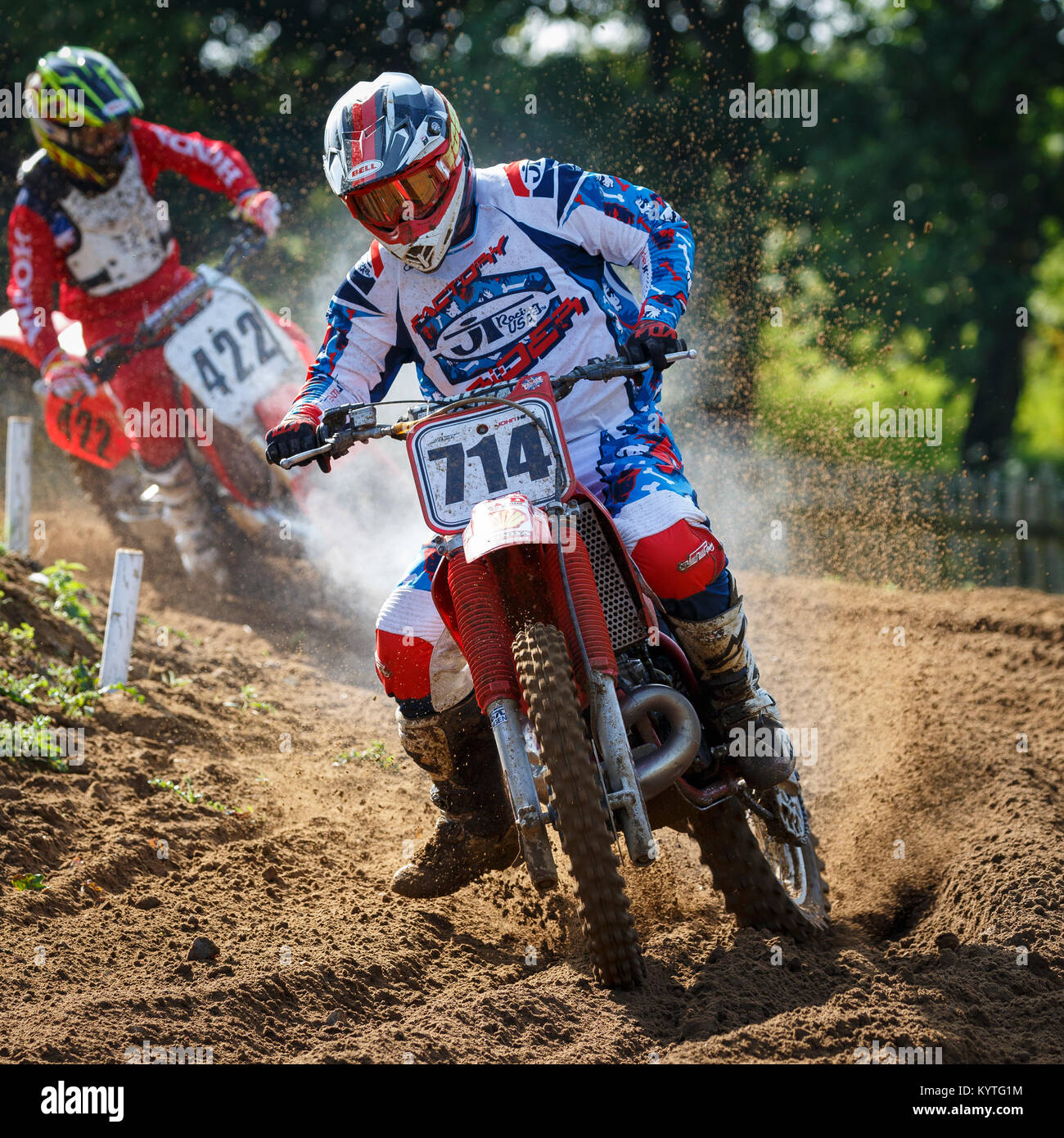 John Hinz on the Ad-Tech Raceworks Honda 250 at the NGR & ACU Eastern EVO Championships, Cadders Hill, Lyng, - Stock Image