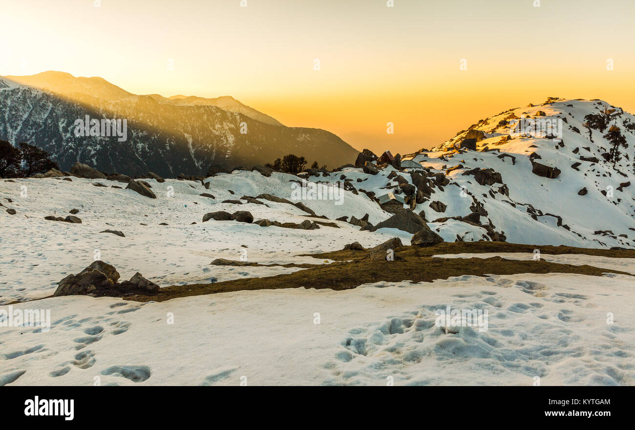 Amazing & Beautiful sunrise at Triund hill top at Mcleodganj, Dharamsala, Himachal pradesh, India. One of the - Stock Image