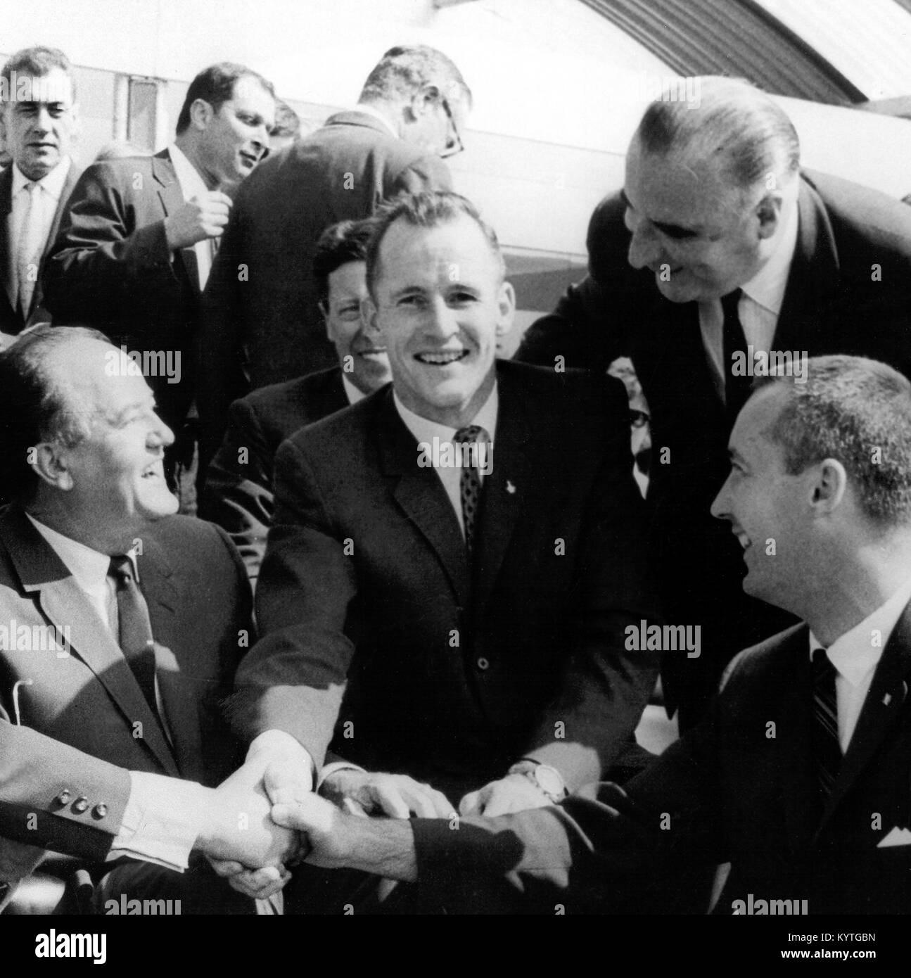 The Russian cosmonaut Yuri Gagarin (1934-1968) meeting astronauts from NASA's Gemini 4 program at the Paris - Stock Image