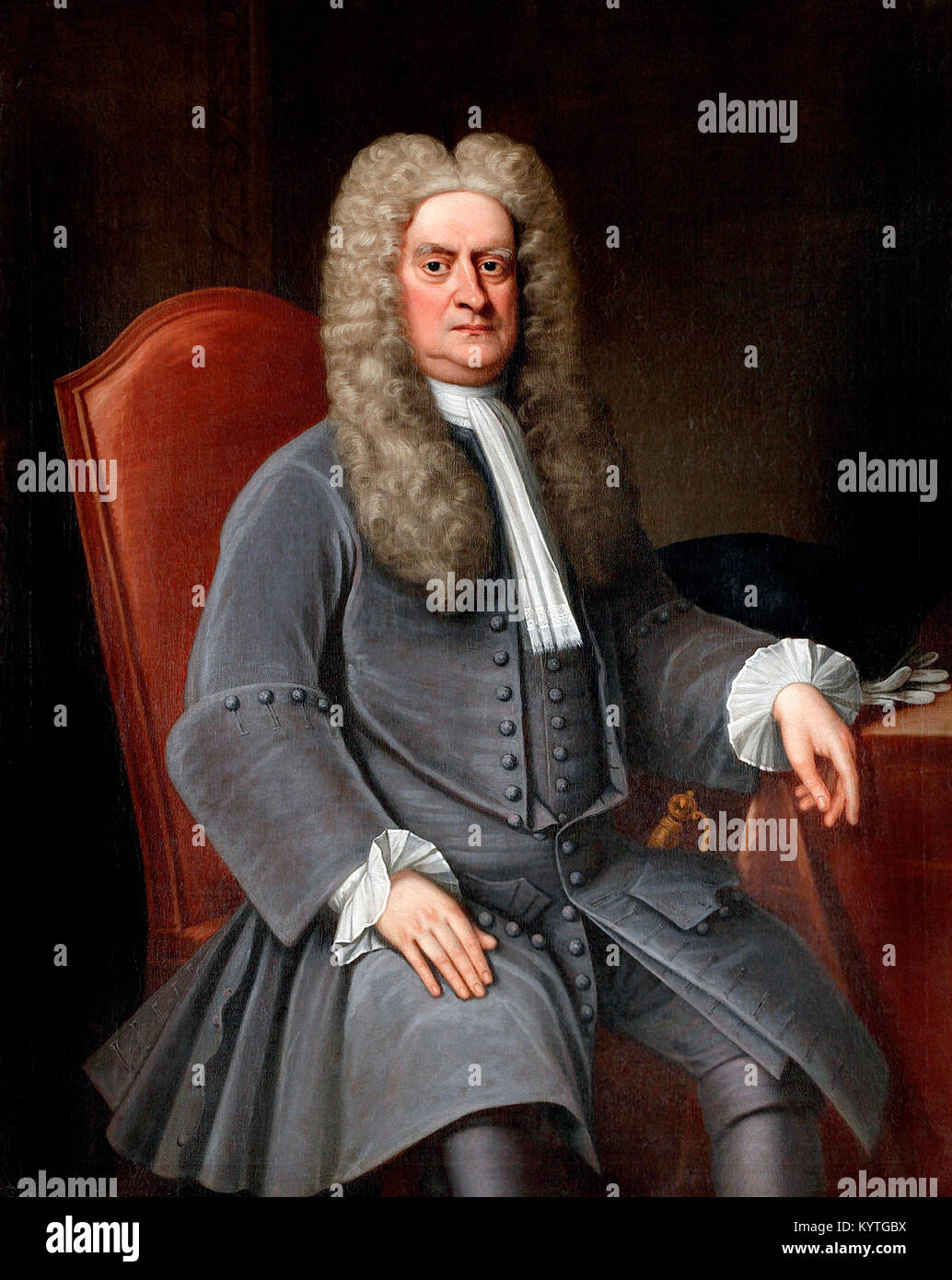 Sir Isaac Newton (1642-1727), portrait of the English physicist and mathematician, c.1715-20 - Stock Image