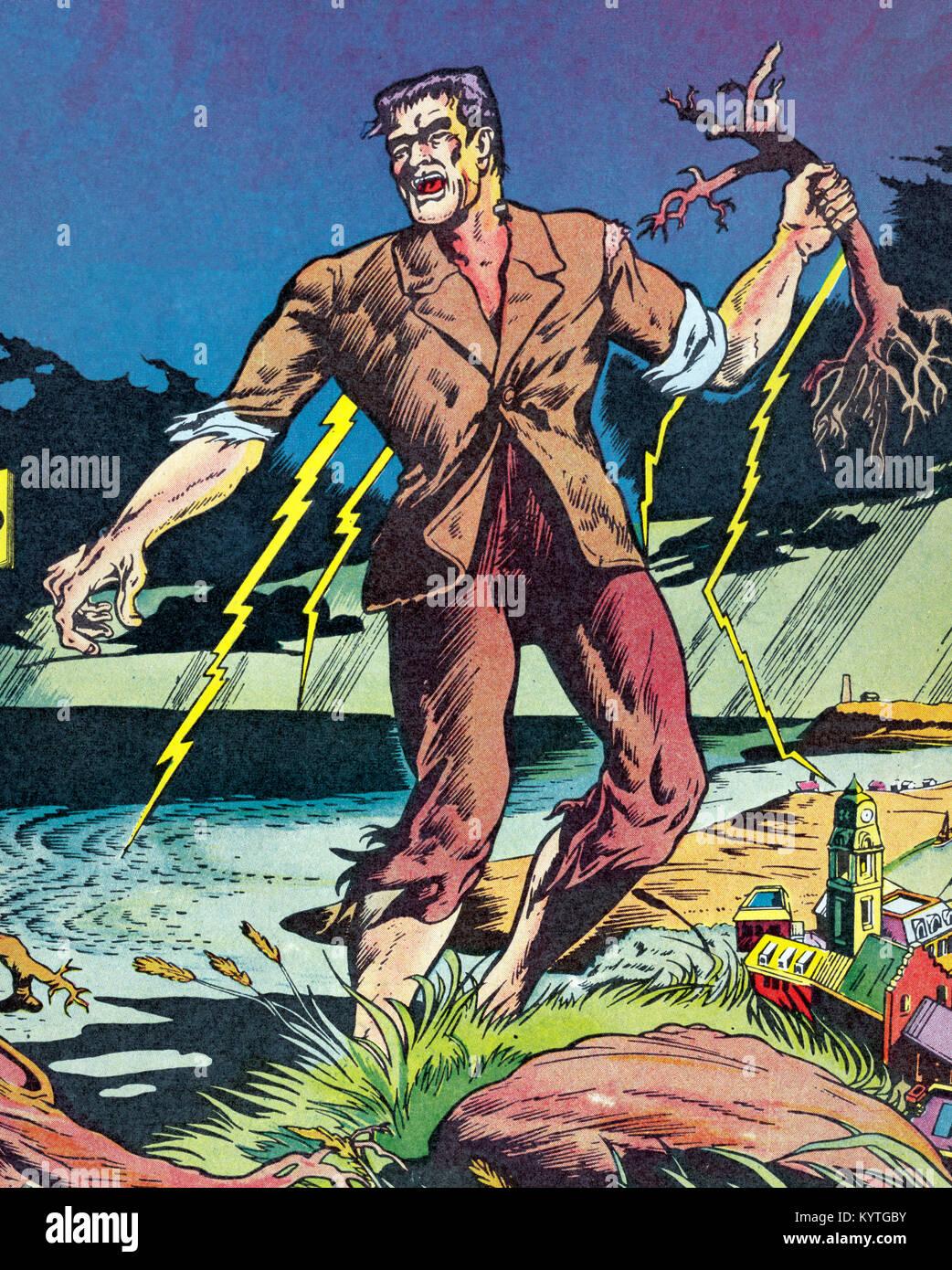 Frankenstein Illustration From The Cover Of A 1949 Edition By Mary Shelley