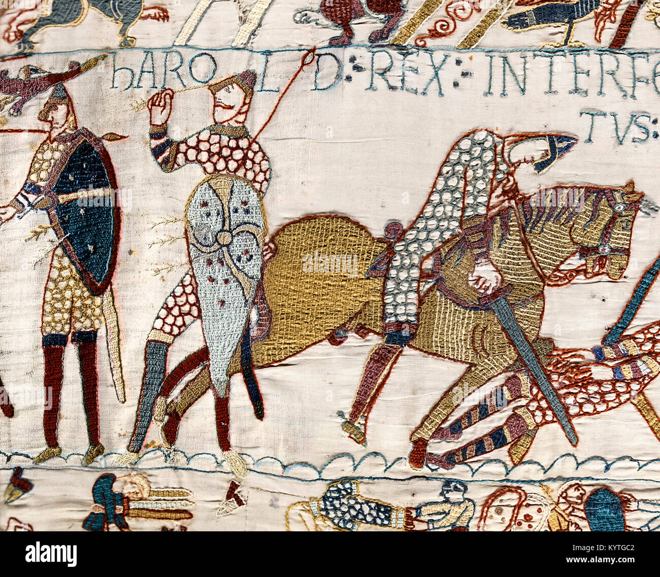 Detail from the Bayeux Tapestry showing the Death of King Harold at the Battle of Hastings in 1066. - Stock Image