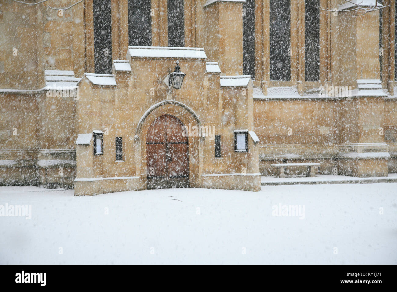 Heavy snow at Temple Church Inner Temple London - Stock Image