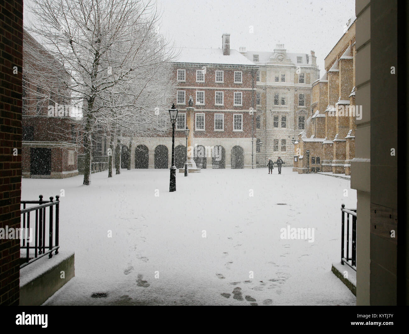 Snowing at  Inner Temple London - Stock Image