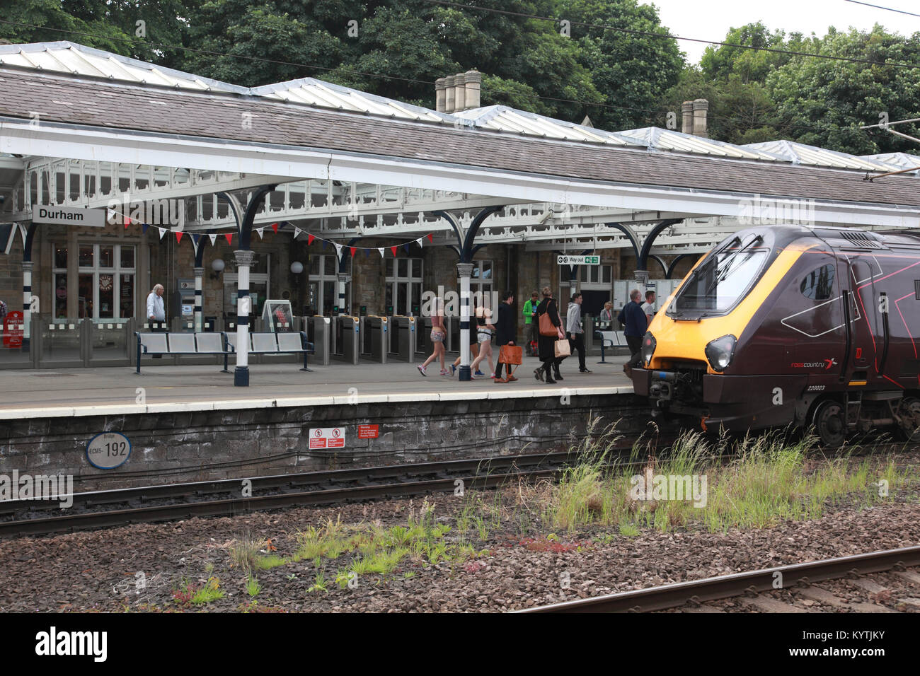 A Cross Country train at Durham railway station - Stock Image