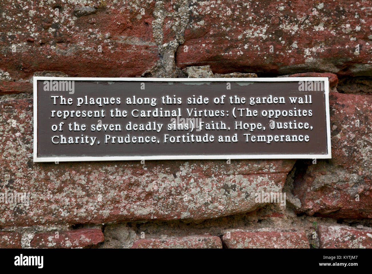 The Cardinal Virtues listed on a sign on the walled garden at Edzell Castle near Brechin, Angus, Scotland Stock Photo