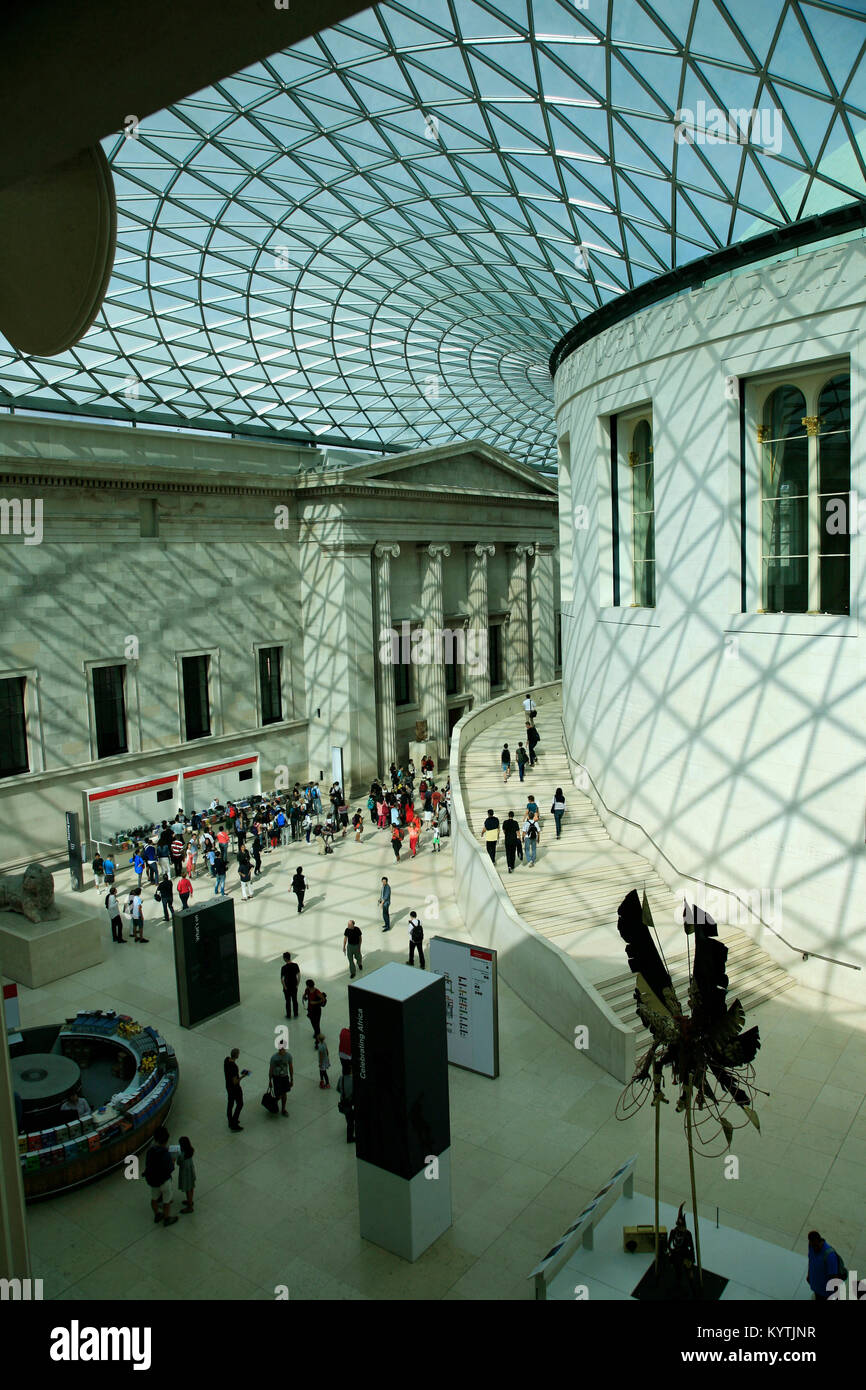 The British Museum's Great Court on a sunny day in London - Stock Image