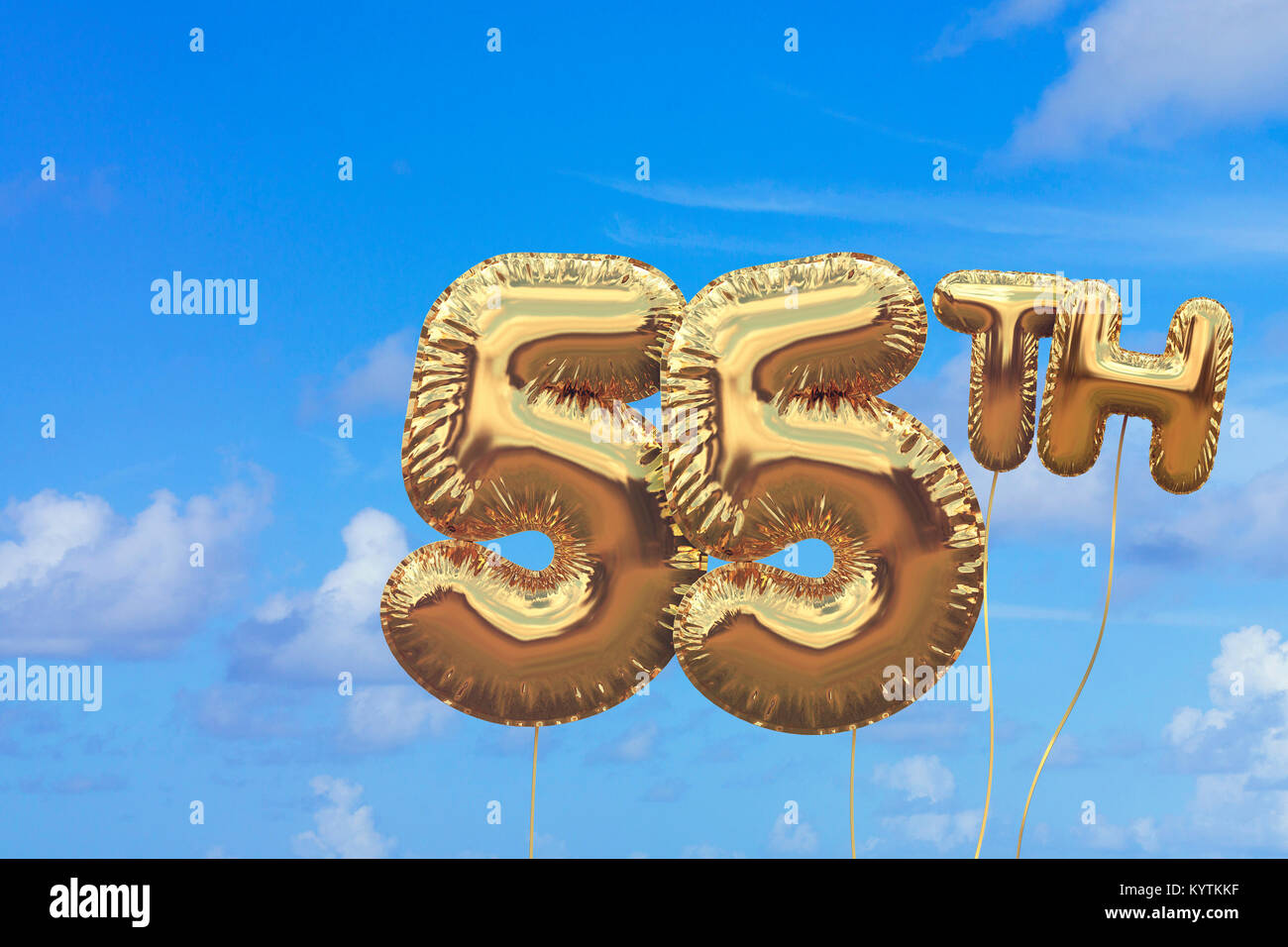 Gold Number 55 Foil Birthday Balloon Against A Bright Blue Summer