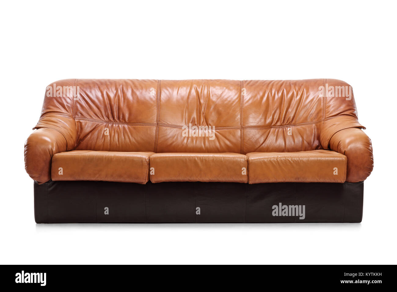 Leather sofa isolated on white background - Stock Image