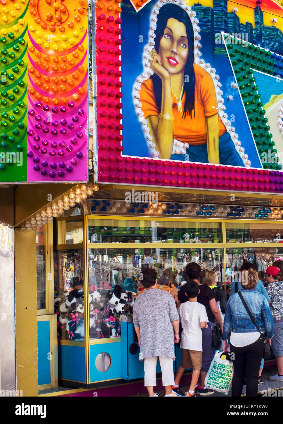 amusement arcade Malmo Sweden during summer music festival - Stock Image