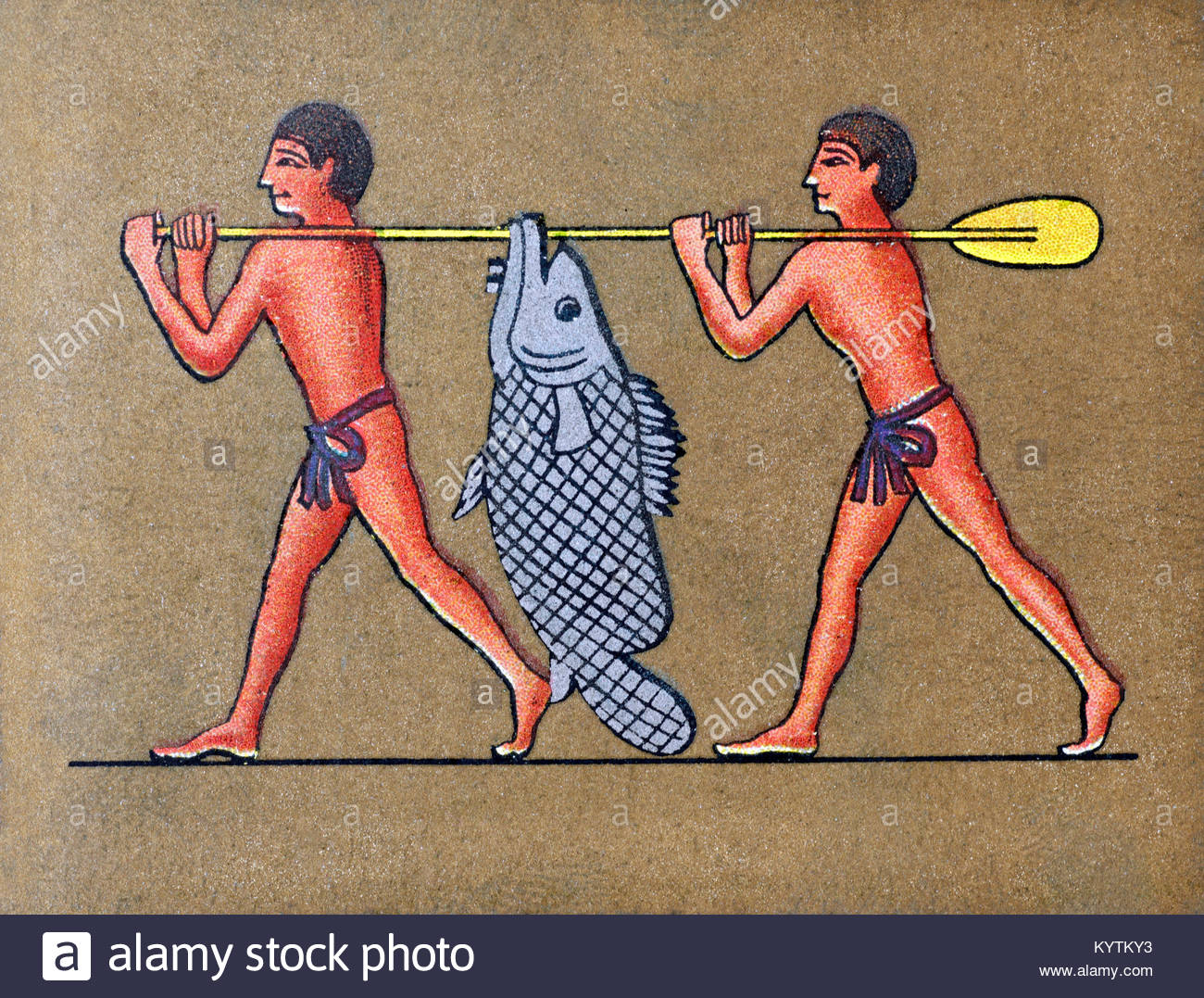 Depiction of ancient Egyptians carrying a fish from Lake Moeris - Stock Image