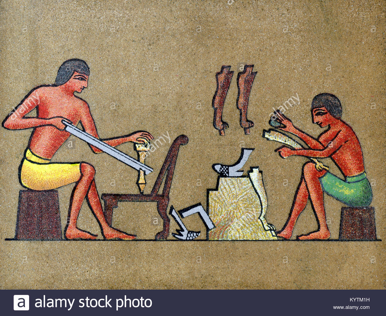 Depiction of ancient Egyptians making furniture - Stock Image