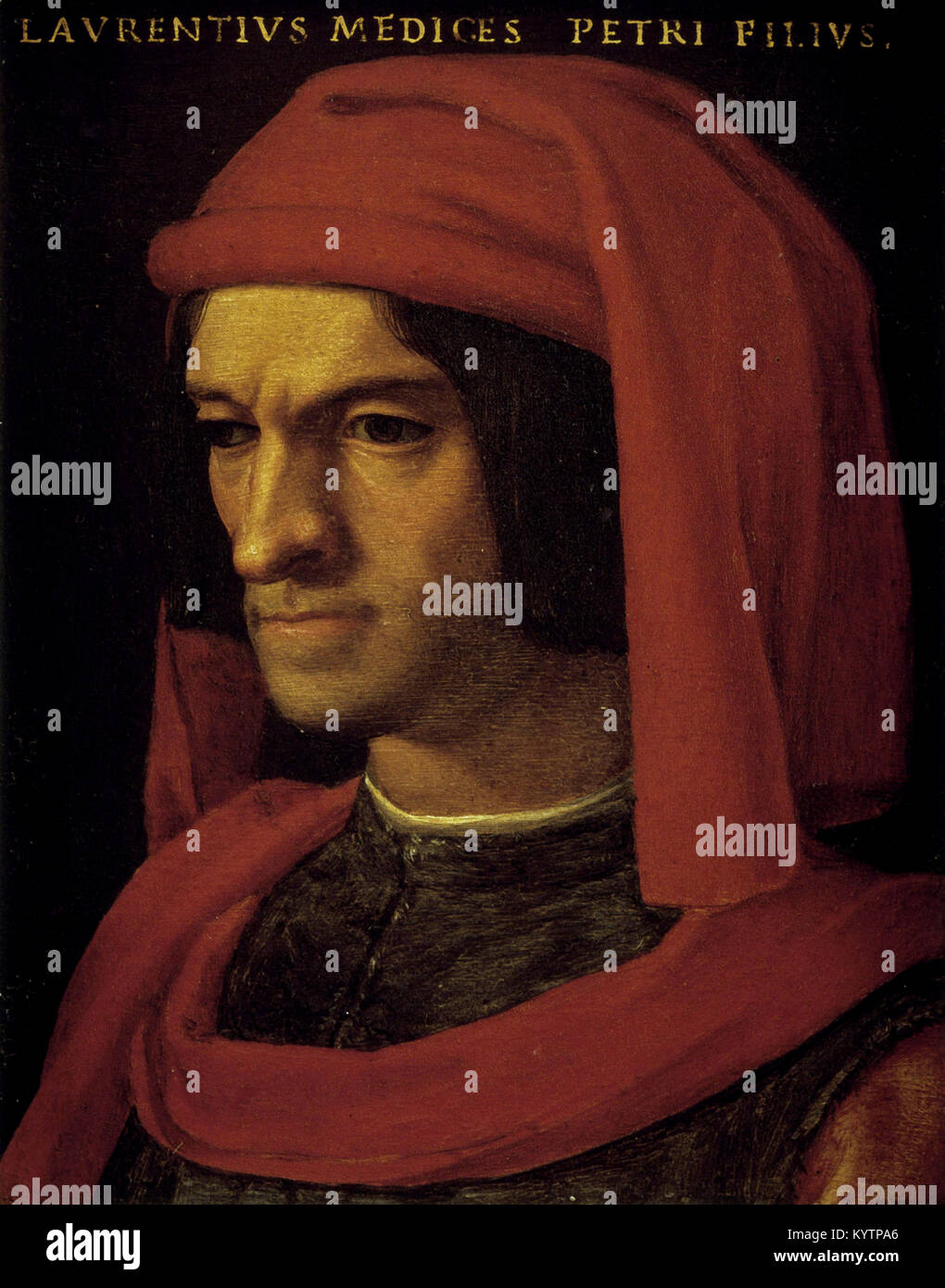 Agnolo di Cosimo - Agnolo Bronzino - Portrait of Lorenzo il Magnifico Stock Photo