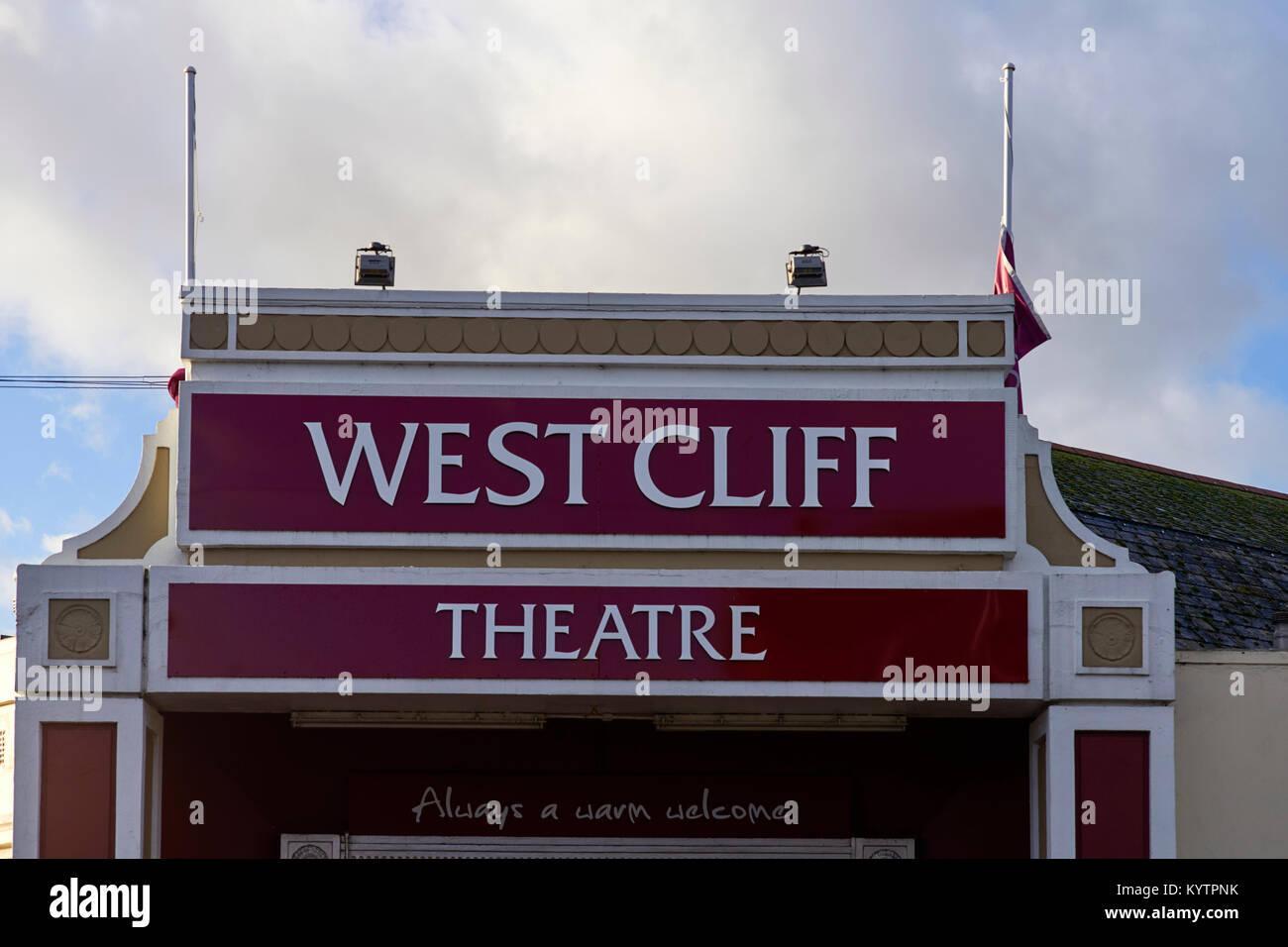 West Cliff theatre in Clacton, Essex sign - Stock Image