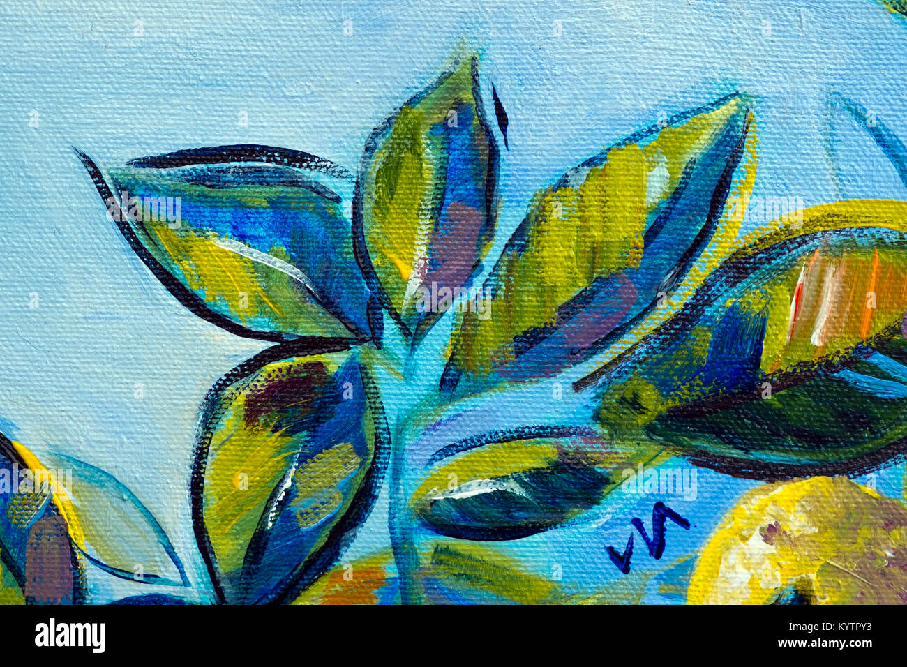 Vibrant Multi Colored Original Oil Painting Close Up Detail Showing Brushwork And Canvas Textures