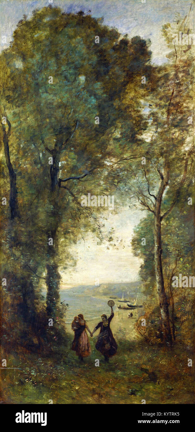 Jean-Baptiste Camille Corot - Reminiscence of the Beach of Naples - - Stock Image