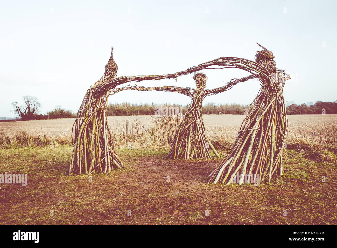 Paganistic wicker dancing fairies around The Rollright Stones circle in Oxfordshire.  January 2018 - Stock Image