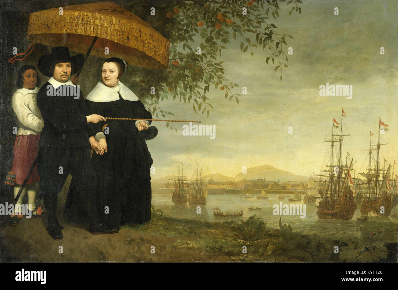 Aelbert Cuyp -  A Senior Merchant of the Dutch East India Company, Jacob Mathieusen and his Wife. Behind them, a - Stock Image
