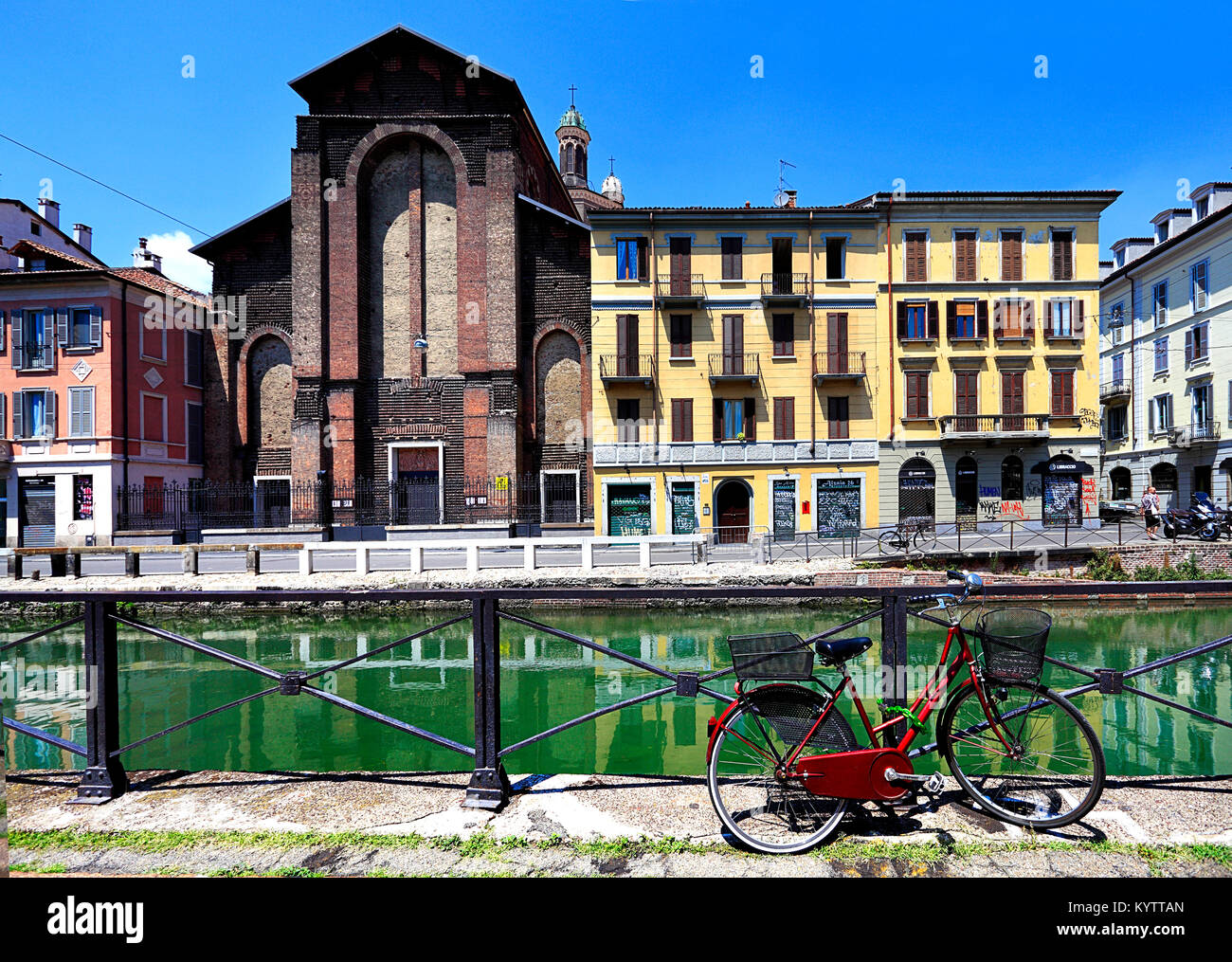 Italy, Lombardy, Milan - 2012/07/08: Italy - Lombardy - Milan - Naviglio district - Naviglio Grande canal and surrounding - Stock Image