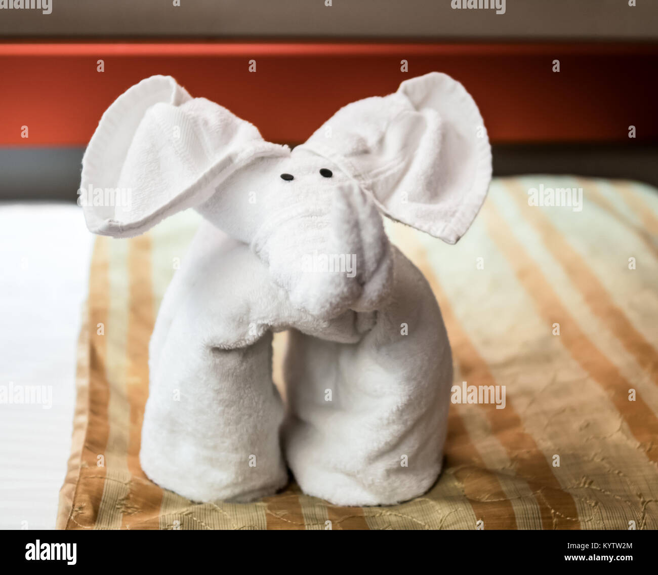 Folded Towel Animal Elephant Forward Face Stock Photo Alamy