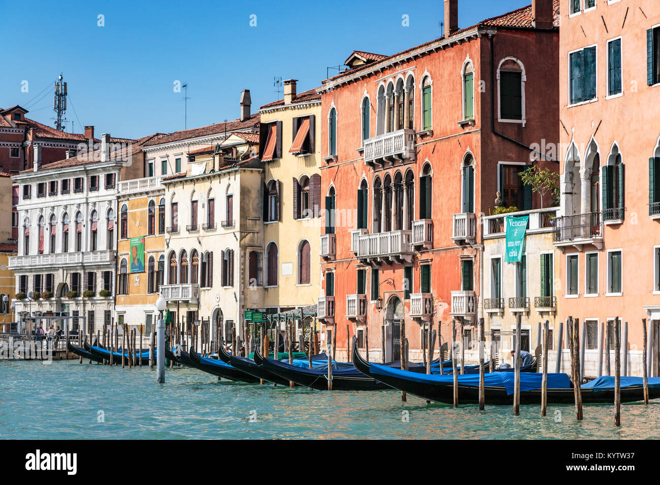 Buildings and boats along the Grand Canal in Veneto, Venice, Italy, Europe, - Stock Image