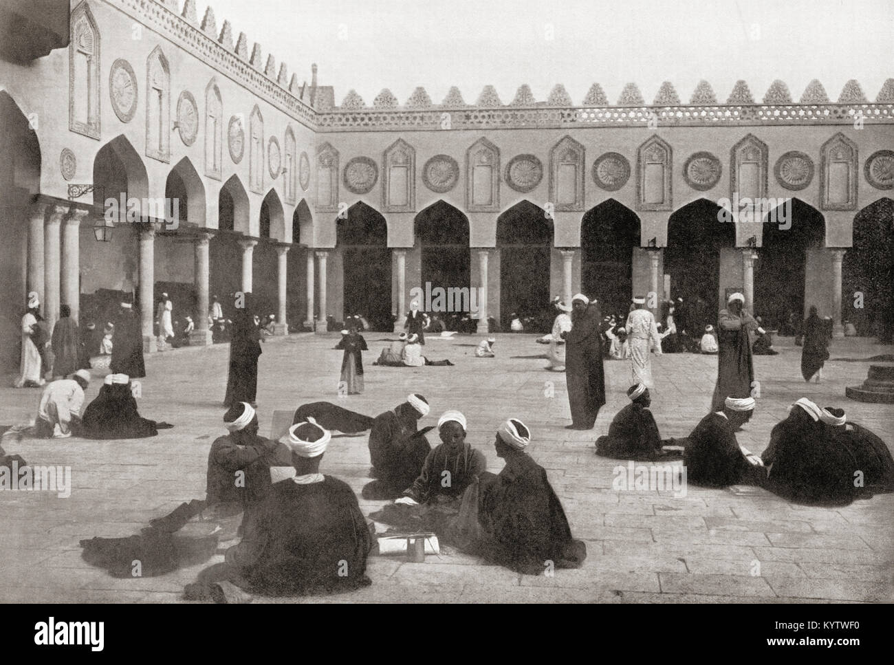 The open court of the University Mosque of Al-Azhar, Cairo, Egypt, seen here in 1880.  From The Wonders of the World, Stock Photo