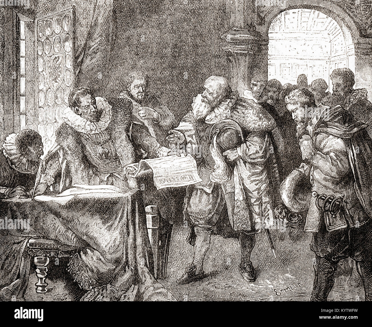 Rudolf II granting the Bohemian Charter aka Letter of Majesty, a 17th-century European document which granted religious - Stock Image