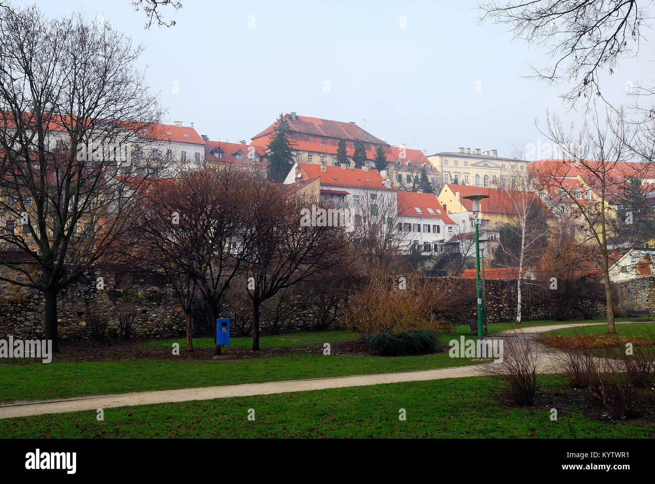 Zagreb Croatia Opatovina Park On Background Gornji Grad Upper Stock Photo Alamy
