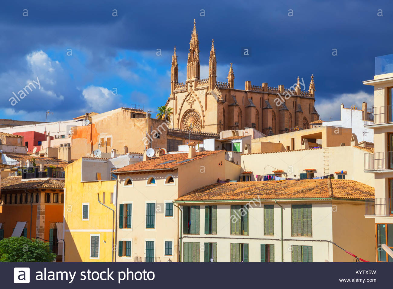 View of historic district, Palma de Mallorca, Mallorca, Balearic Islands, Spain, Europe Stock Photo