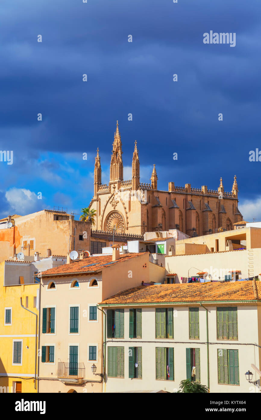 View of historic district, Palma de Mallorca, Mallorca, Balearic Islands, Spain, Europe - Stock Image