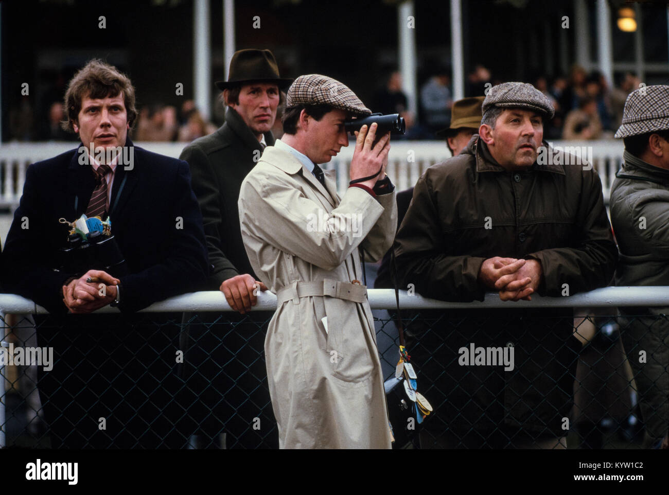 Grand National Horse Race at Aintree, Liverpool 1985. Scanned in 2018 Visitors at the Grand National Horse Race Stock Photo
