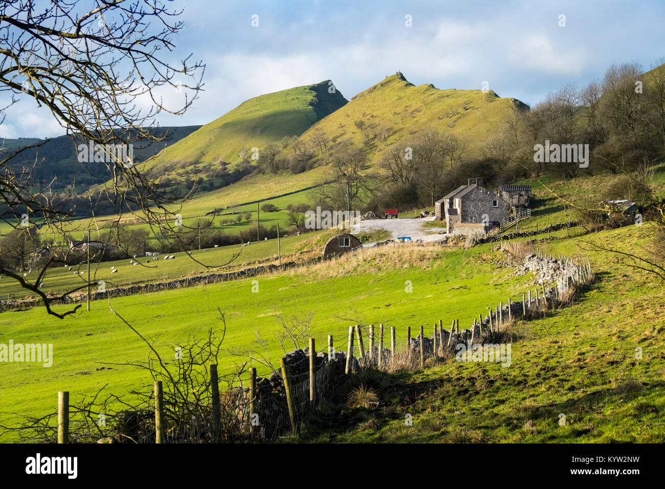 Chrome Hill and Parkhouse Hill in the Upper Dove Valley in the Peak District National Park - Stock Image
