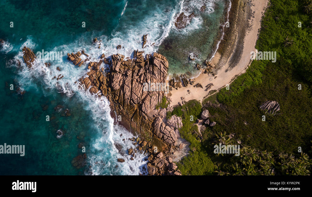 La Digue - Seychelles island with sea, coast and beach - aerial photo taken from above with a drone - Stock Image