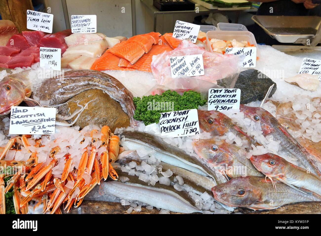 Sea food at London Borough Market, UK. - Stock Image