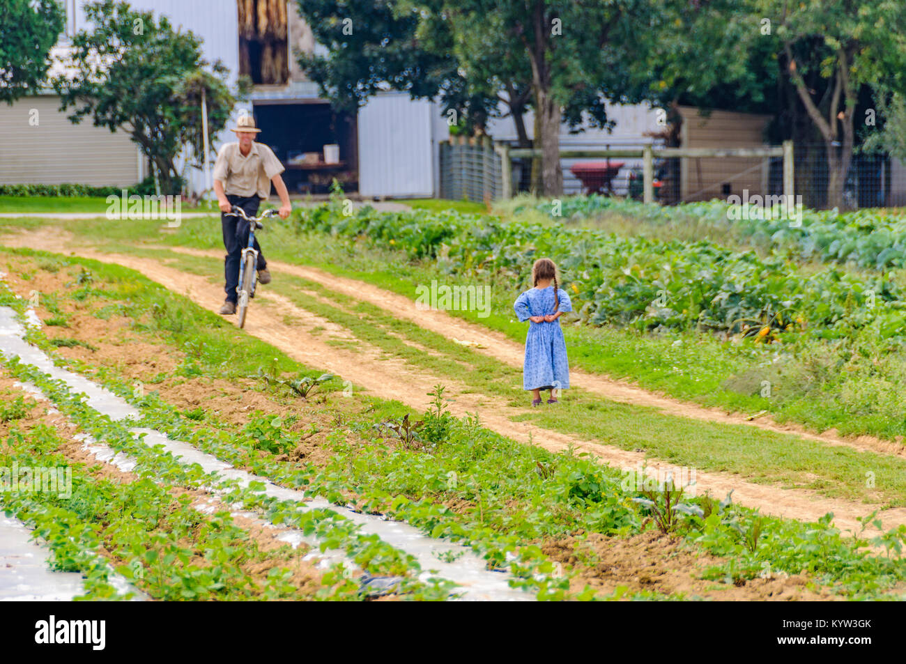 Young girl in the garden in Amish Country in Pennsylvania, USA Stock Photo