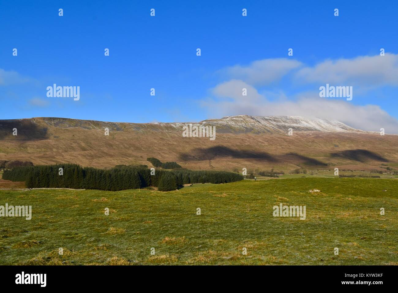 Snow on Whernside Hill - Stock Image