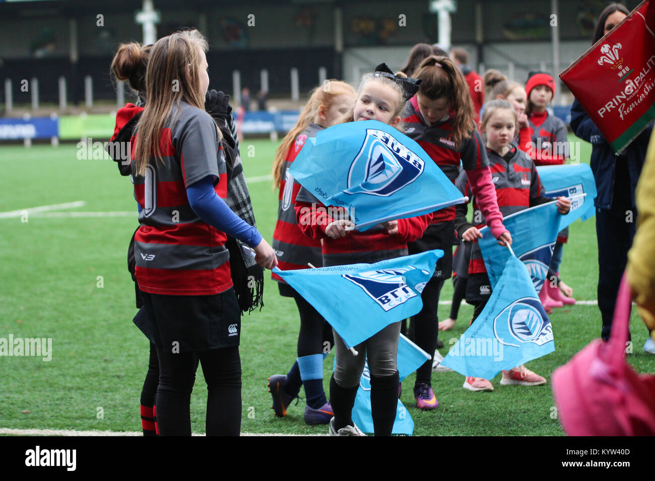 14th January 2018. Pontypridd RFC, Wales. Cardiff Blues Ladies game against Ospreys Ladies. Final score was Ospreys - Stock Image