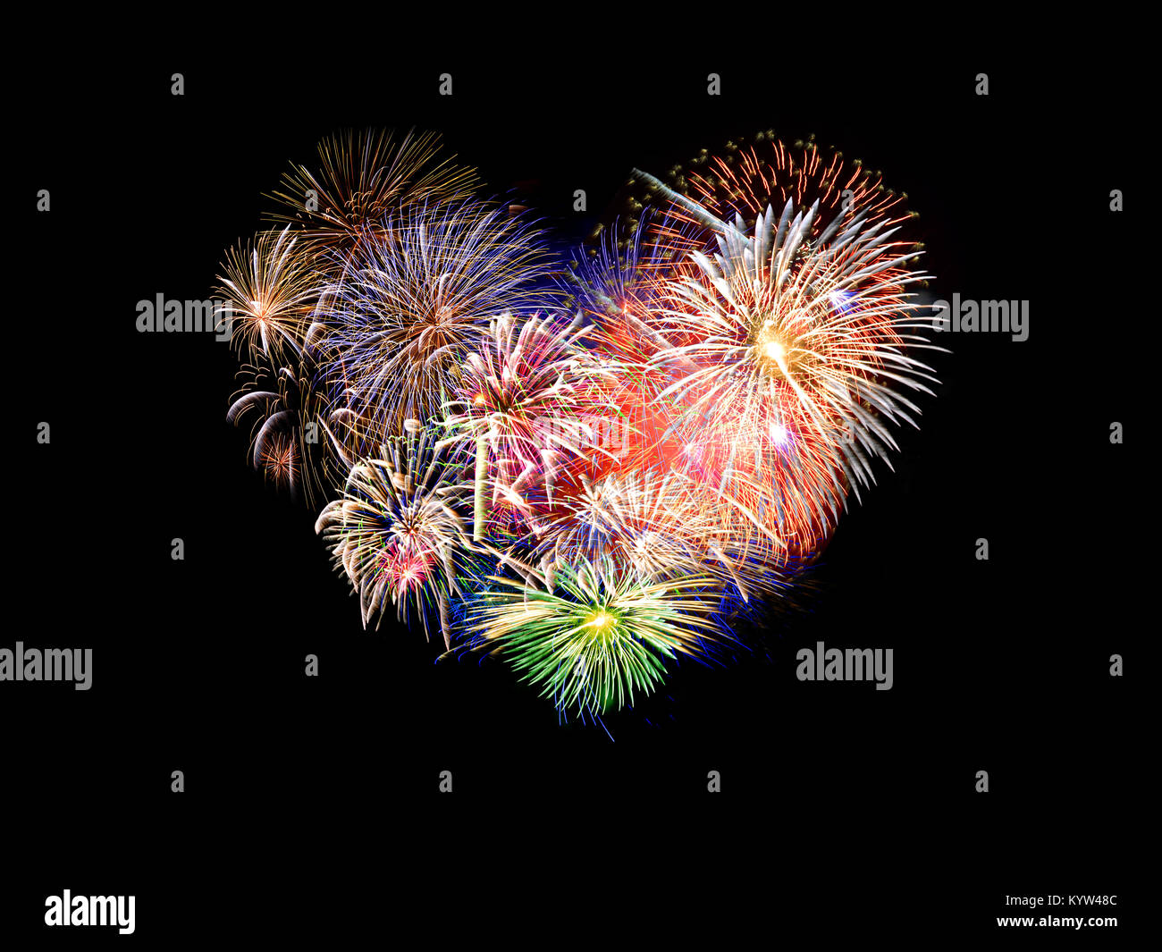 Heart shaped colorful fireworks Stock Photo
