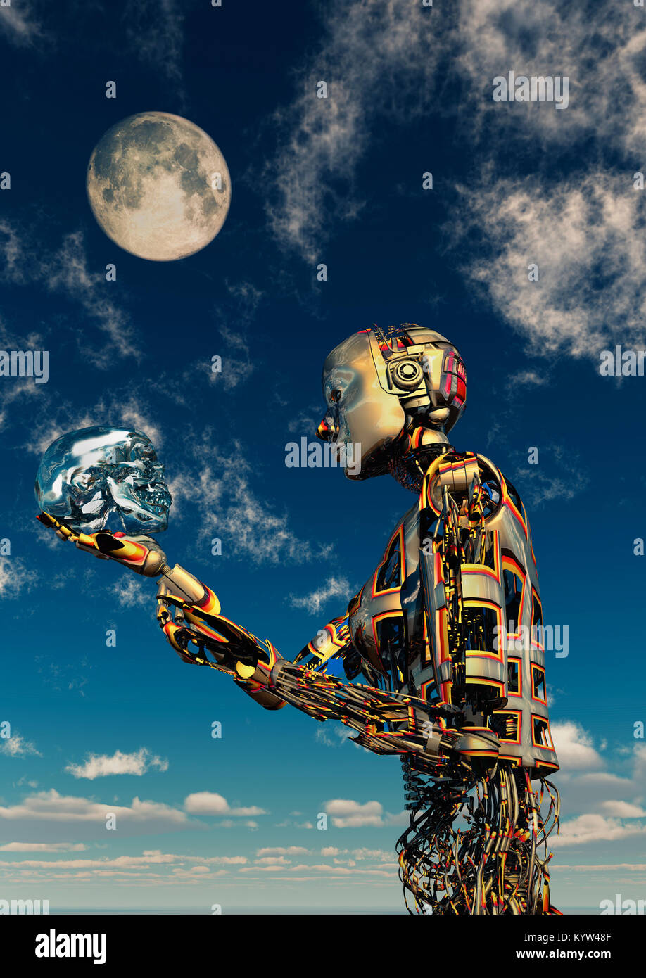 A Crystal Skull In The Hands Of An Android - Stock Image