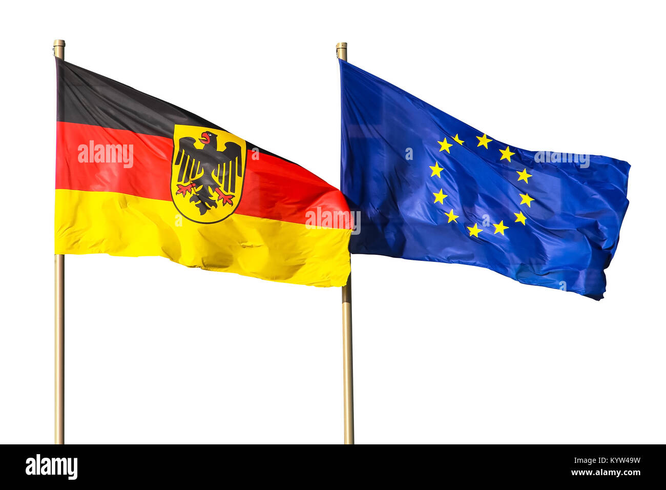 Flags of Germany (Federal Republic of Germany; in German: Bundesrepublik Deutschland) and the European Union (EU) - Stock Image