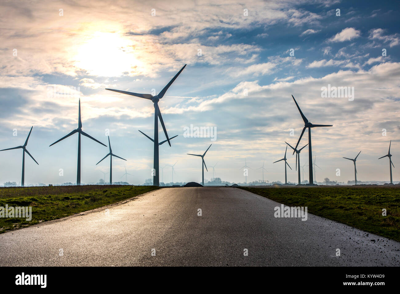 Wind energy plant, wind farm in East Frisia, Lower Saxony, Northern Germany, Stock Photo