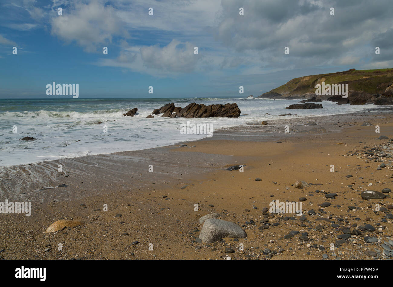 Dollar Cove at Gunwalloe on the Lizard Coast in Cornwall Stock Photo