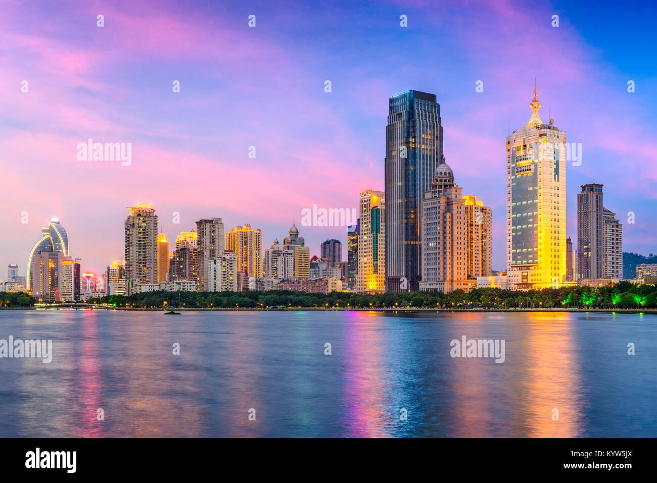 Xiamen, China city skyline from Gulangyu Island. - Stock Image